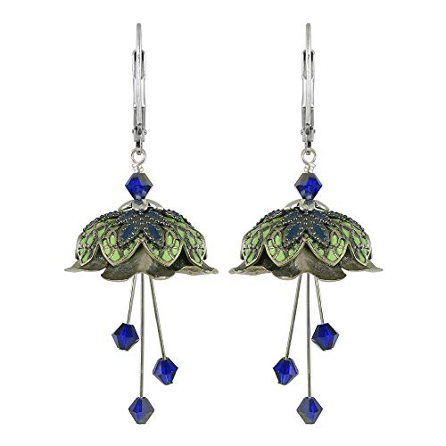 NoMonet Lorelei - Pendientes de hada pintados a mano, diseño de flores, color plateado, verde y azul marino