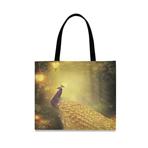 Bolsa de trabajo de gran capacidad cuadrada Pavo real en bosque bajo lámpara de calle dorada Bolsa de lona linda Impresión de 19.7 X 16.9 pulgadas para niñas Damas Compras Trabajo diario