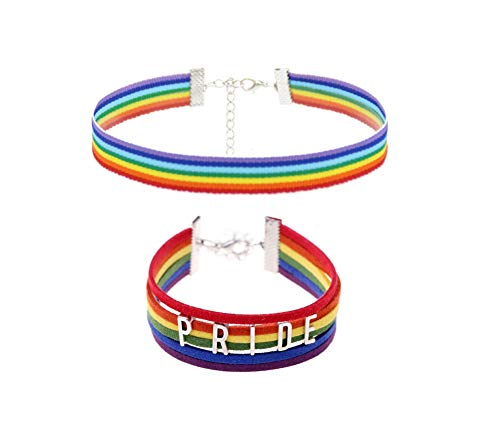 NJ Gay Choker Jewelry - Adjustable Rainbow Pride Choker Necklaces & Bracelet Jewelry Sets for Gay Lesbian LGBT for Engagement,Parades,Promise Gift