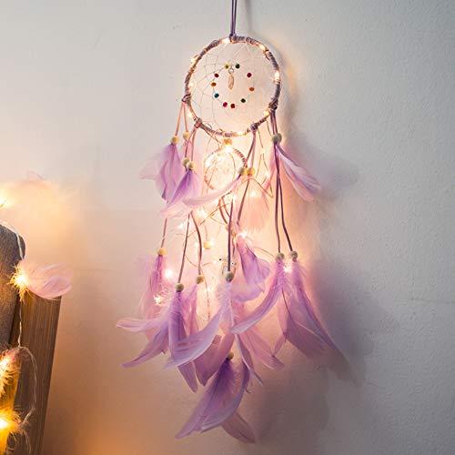 Youlaify - Lámpara tradicional colgante con diseño de pluma y atrapasueños (hecha a mano), Púrpura
