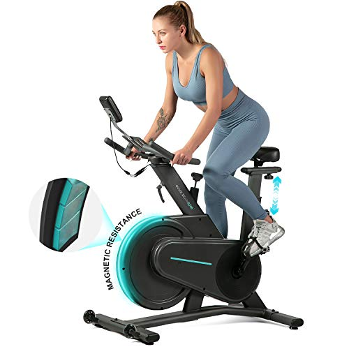 OVICX Magnetic Stationary Bike with Adjustable Professional Handlebar Belt Drive Indoor Cycling...