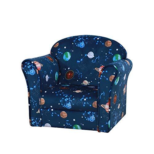 HOMCOM Children Kids Mini Sofa Armchair Polyester Blue Universe Planet Non-Slip Feet Bedroom Playroom Seating Chair