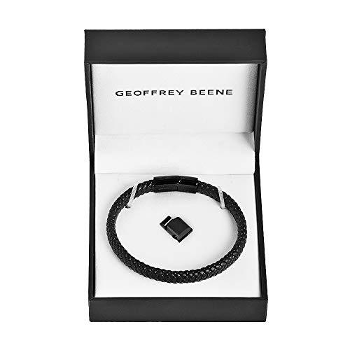Geoffrey Beene Men's Braided Genuine Leather Bracelet with Stainless Steel Magnetic Closure, Black
