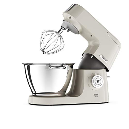 Kenwood Mary Berry Special Edition Chef Elite Stand Mixer for Baking, 3 Bowl Tools, Whisk, Dough Hook & K-Beater, Fast Cakes' Recipe Book, KVC5100C, Cream