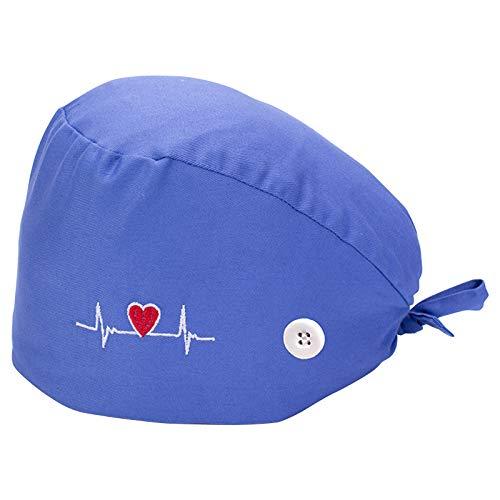 Gorra de trabajo ajustable, de algodón, unisex, para hombre y mujer, talla única, antipolvo, para el cuidado del pelo corto y largo (azul)