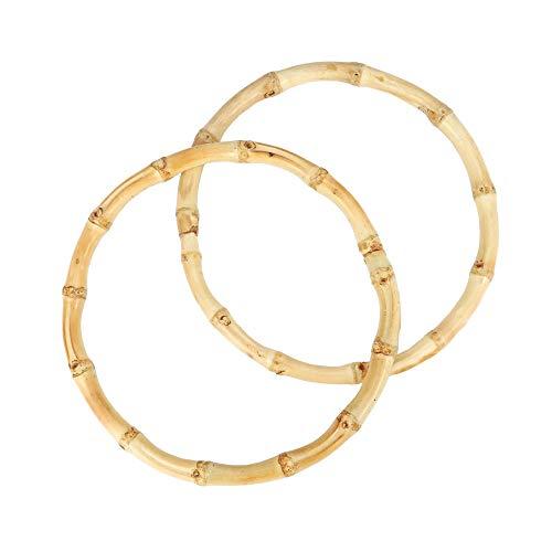 RUBY - 2 Asas de bolsos circular de caña 100% artesanal para manualidades, redondo de bambú natural, asas de bambú para bolso de mano (Ø 15cm)