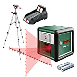 Bosch line laser - Quigo Plus (Supplied with 2 x 1.5 V LR03 (AAA) batteries, Measuring plate, 1.1 m aluminum tripod)
