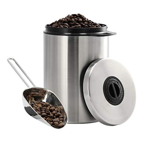 Xavax Koffieblik voor 1 kg koffiebonen (luchtdichte koffiebonenhouder met koffie-schep, aromablik van roestvrij staal, voorraaddoos voor het opbergen) zilver