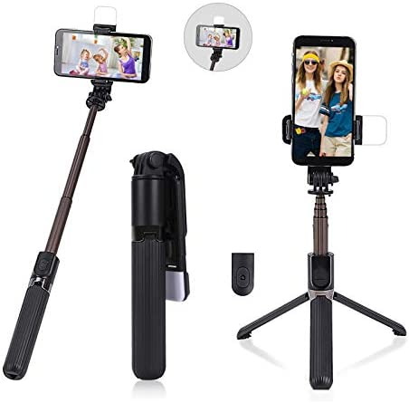 Selfie Stick Tripod with Fill Light Mini Ring Light with Stand Selfie Sticks Bluetooth Wireless product image