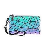 LOVEVOOK Portafoglio Donna Geometrico, Luminoso Olografico Portamonete alla Moda Borsa Handy con Zip Borsa Donna