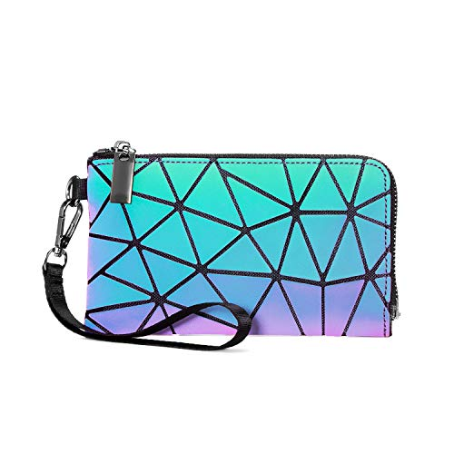 LOVEVOOK Geldbörse Damen, Geometrische Holographic Tasche für Frauen, Handy Bag Geldbeutel mit Reißverschluss, Kleine Handtasche, Leuchtend, PU Leder