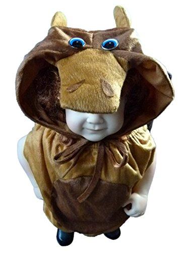 AN66 Taglia 9-12M (74-80 cm) Costume da Toro per bambini e neonati Carnevale Costumi