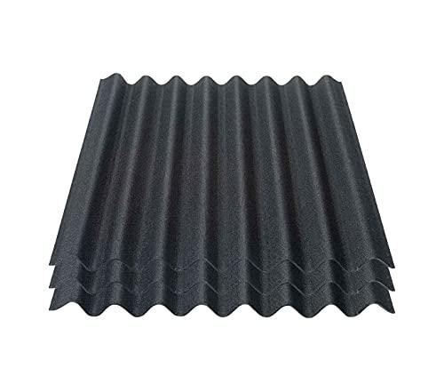 Onduline Easyline Dachplatte Wandplatte Bitumenwellplatten Wellplatte 3x0,76m² - schwarz