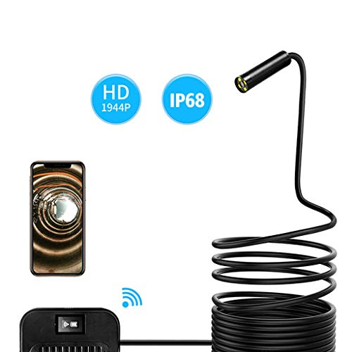 JIAAN Endoscoop Snake Camera Draadloze Inspectie Camera, WiFi Borescope Endoscoop 2.0 Megapixels HD Waterdichte Snake Tube Camera Voor IPhone,Samsung,Tablet,Laptop (1Meter)