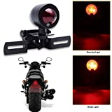 12V Black Motorcycle Tail Light Brake Stop Running Light Lamp with License Plate Holder For Harley Bobber Chopper Cafe Racer