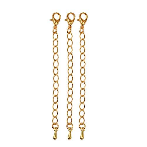 Naisicatar Haken-Halskette Extender Ketten-Armband Verlängerungskette Metall Wassertropfen Extender-Kette für Schmucksachen, die 10pcs (Gold) Haltbar und Pratical