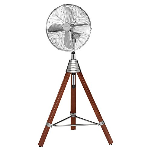 AEG VL 5688 S Ventilador de pie de estilo Retro, trípode de madera, Oscilante, diámetro: 40 cm, 3 velocidades, armazón de metal, altura regulable