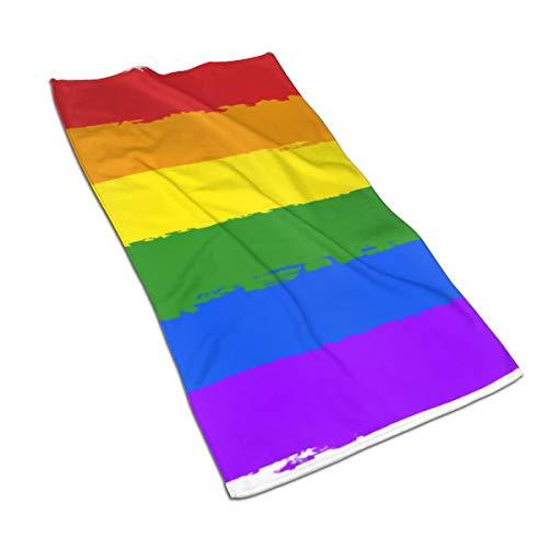 N/A - Toalla de ducha con diseño de bandera gay del orgullo del arco iris LGBT suave para cocina, hotel, yoga, gimnasio, spa (27 x 15 pulgadas)