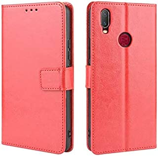 Advanced Compatible With Vivo Y11 2019 Case, Phone Case With Name Card Holder, Magnet Flip, Support Function, Shockproof Protective Case Cover (Color : Red)