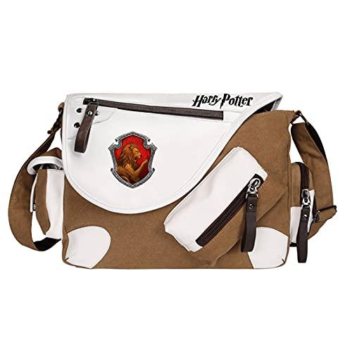 QLma Estudiantes de primaria y secundaria bandolera moda casual bandolera Gryffindor mochila 35x26x11cm marrón