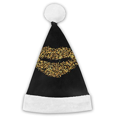 Gold Glitter Icon of Mouth Isolierte Weihnachtsmütze Christmas Santa Hat Short Plüsch mit weißen Manschetten Plüsch Weihnachtsmütze für Erwachsene 2PCS