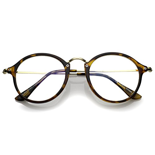 zeroUV - Classic Slim Metal Temple Clear Lens P3 Round Eyeglasses 48mm (Tortoise-Gold/Clear)