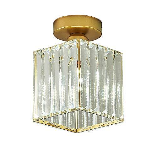 Moderne quadratische Kristall Deckenleuchte Kleine Deckenlampe für Flur Balkon Korridor K9 Kristall Lampenschirm E27 Deckenleuchte Runde Pendelleuchte Einzelkopf Deckenleuchte (Gold-Quadrat)
