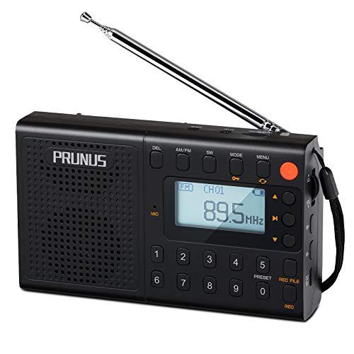 J-401 Radio Portatil Digital con Preselección Manual,Am/FM/SW Radio Portatil Pequeña Recargable, Reproductor USB/TF/AUX con Pantalla Lírica y Doble Altavoz,Grabación/Temporizador de Apagado.