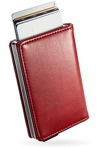 [zepirion] クレジットカードケース 革 スキミング防止 磁気防止 スライド式 スリム 薄型 アルミ 大容量 メンズ レディース レッド(レザー)