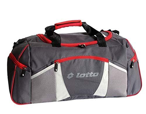 Lotto Sport Borsone Grande Viaggio Palestra 60 cm, 500 gr. Con Tracolla Fondo Rigido e Piedini (Grigio)