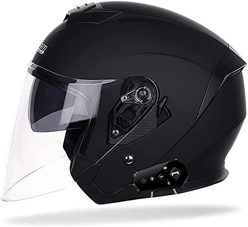 Bluetooth Jethelel Motorcycle Face Open Face 3/4 Half Cascos, Casco de jet Unisex para adultos vintage, Casco Retro Cruiser Half Casco con visera Sol, Motocicleta de la bicicleta de la calle Scooter,