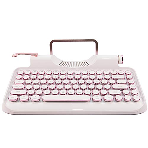 ZYQM Retro typewriter mechanical wireless keyboard with Tablet Stand, Bluetooth connection, artistic dot keys (white)