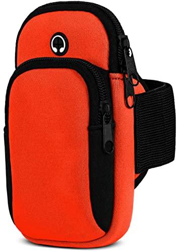 moex Handytasche Joggen für Sony Xperia 5 II Sportarmband Handy aus Neopren, Handyhalterung Arm zum Laufen Sport Armband, Laufarmband mit 2 Fächern, Lauftasche Jogging - Orange