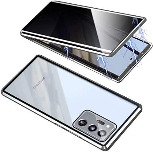 ONEYMM Funda para Samsung Galaxy S20 FE 5G Carcasa Adsorción Magnética Metal Caso Cobertura Anti espía Vidrio Templado Case Cover,Plata,for Samsung S20 FE