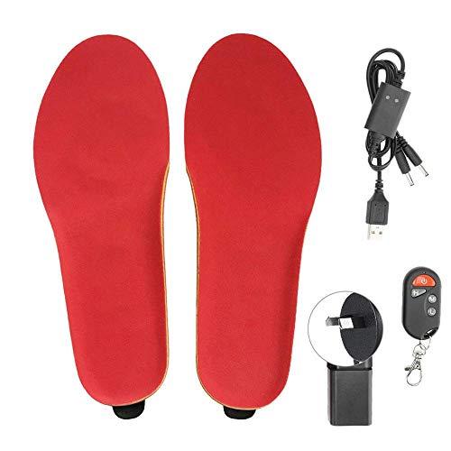 Plantillas térmicas con batería recargable, temperatura ajustable Almohadillas eléctricas Calentadores de pies para hombres Mujeres Pies cálidos en aventuras de invierno Deportes(AU-Rojo 41-46)