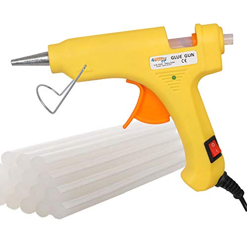 4WORDS 20Watt Electric Hot Melt Glue Gun Tool with Free Glue Sticks,On-Off Switch,DIY Art & Craft, Quick Repairs, Home, School, Office and Gifts Packaging- (Random Color with 5 Glue Sticks)