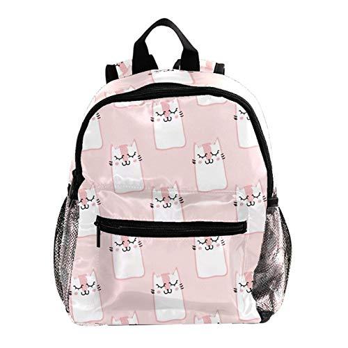 Mochilas Escolares Juveniles Gatos Dulces Lindos Rosados Ligera Mochila Infantil Escolar Ergonómico Animal para Niños 25.4x10x30 CM