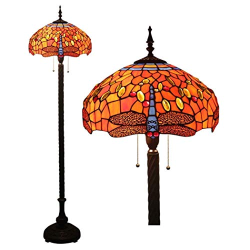 Tiffany Style Red Dragonfly Floor Light 16 Inch Stained Glass Floor Lamps Zipper Switch Decoration Reading Lamps for Living Room Bedroom Office
