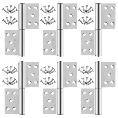 WiMas 5 Zoll Türscharnier Aufschraubband, Klapp Hinten Scharniere, Wohnmöbel Hardware Schrank Scharniere mit 60PCS Schrauben, 6 STÜCKE