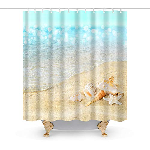 Ocean Decor Seashell Starfish Beach Conch Theme Shower Curtain Fabric Sets Bathroom Decor with Hooks Waterproof Washable 70 x 70 inches Blue and Gold