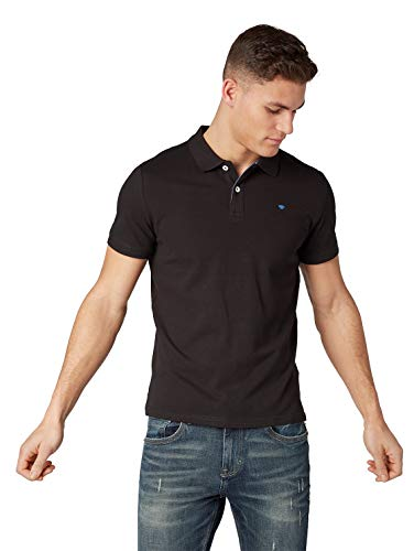 TOM TAILOR Herren Basic Polo T-Shirt, Schwarz (Black), S