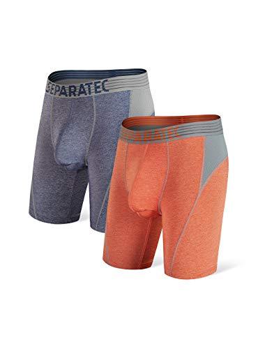 Separatec Herren-Boxershorts, 20,3 cm Schrittlänge, Farbblockierung, für Sport, trocken, frisch, 2 Stück - - Small