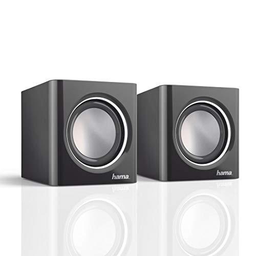 Hama Notebook-Lautsprecher Sonic Mobil 185 (Lautsprecher für PC, Laptop, Smartphone oder Tablet mit 3,5 mm Klinkenstecker) schwarz-silber