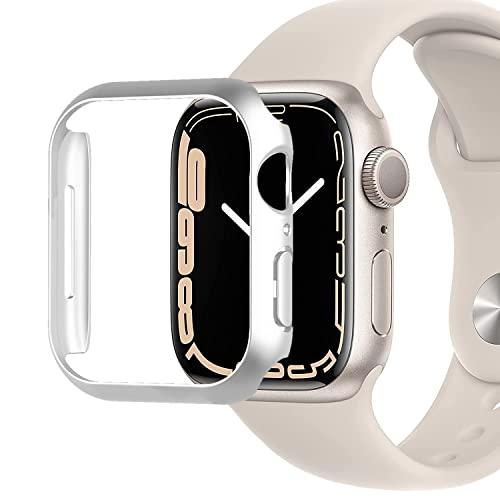 Miimall Kompatibel mit Apple Watch Series 7 41mm 45mm Hülle, Harter PC Schutzrahmen Superdünne Kratzfest Stoßfest Schutzhülle für Apple Watch Series 7 41mm - Silber