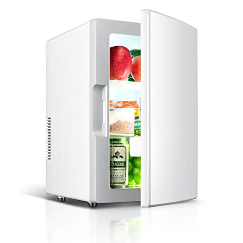 Mini frigorifero 18 litri/dispositivo di raffreddamento e riscaldamento Mini frigorifero portatile AC/DC Mini frigorifero per auto e casa, frigo termoelettrico compatto per cura della pelle