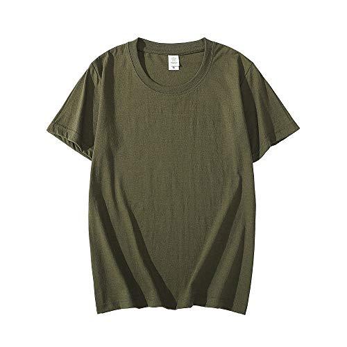 Qier T Shirt Uomo Magliette Basic A Maniche Corte, Maglietta da Uomo in Cotone Tinta Unita Casual O-Collo, Verde Militare, 5XL