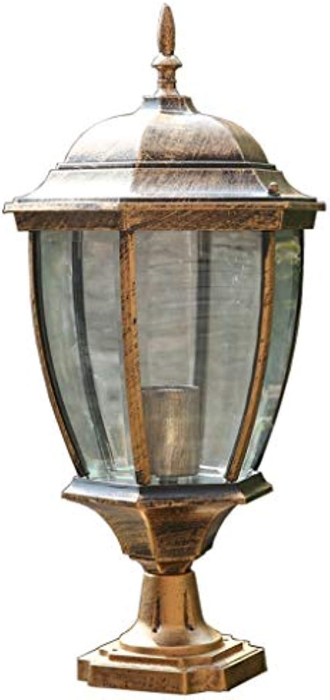 SHIJIAN Im Freien wasserdichte Gussaluminiumpfosten-Lampe - 40W im Freienpfosten-Beleuchtung, weiglühende Pfosten-Laterne.Leuchten (Farbe   Brass, Größe   High 43cm)