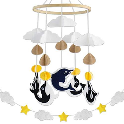 happygirr Campanas de Viento con Delfines, diseño 3D, Campanas de Viento móviles para bebés, Campanas de Fieltro para Cama, Colgante móvil, decoración para Cama de bebé, Regalo para niños y niñas