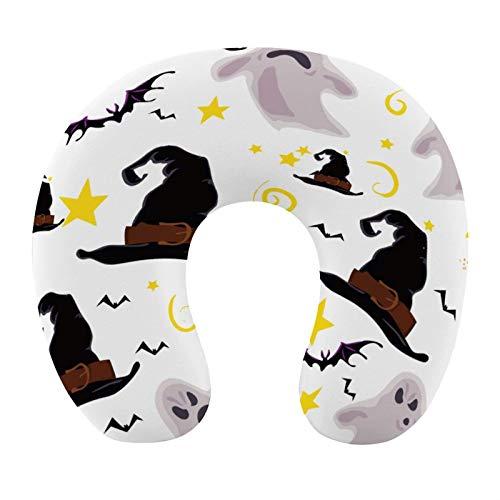 AOOEDM Cuscino da Viaggio per Il Collo, Cuscino da Viaggio per Il Collo a Forma di U, Bird Flying Happy Halloween e Cappelli, Cuscini cervicali, Supporto per l\'affaticamento della Spalla, Cuscino da