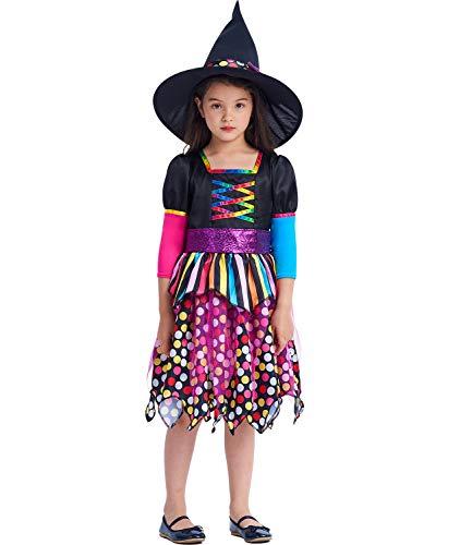 IKALI Mädchen Hexenkostüm Kinder Magie Dress Up Outfit Halloween Party Anzug Farbe Rock mit Hut